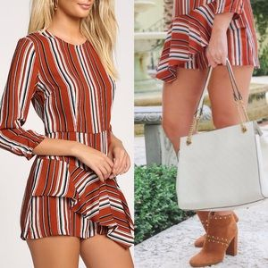 ➳ Fall For You Rust Orange/Red Striped Romper